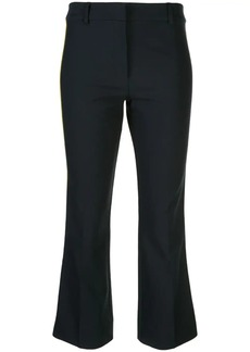 Derek Lam Cropped Crosby Twill Flare Trouser with Tuxedo Stripe