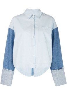 Derek Lam Cropped Denim Sleeve Button-Down Shirt