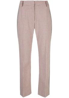 Derek Lam Cropped Flare Check Trouser with Tuxedo Stripe