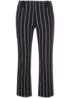 Derek Lam Cropped Flare Pencil Striped Trouser with Braided Trim