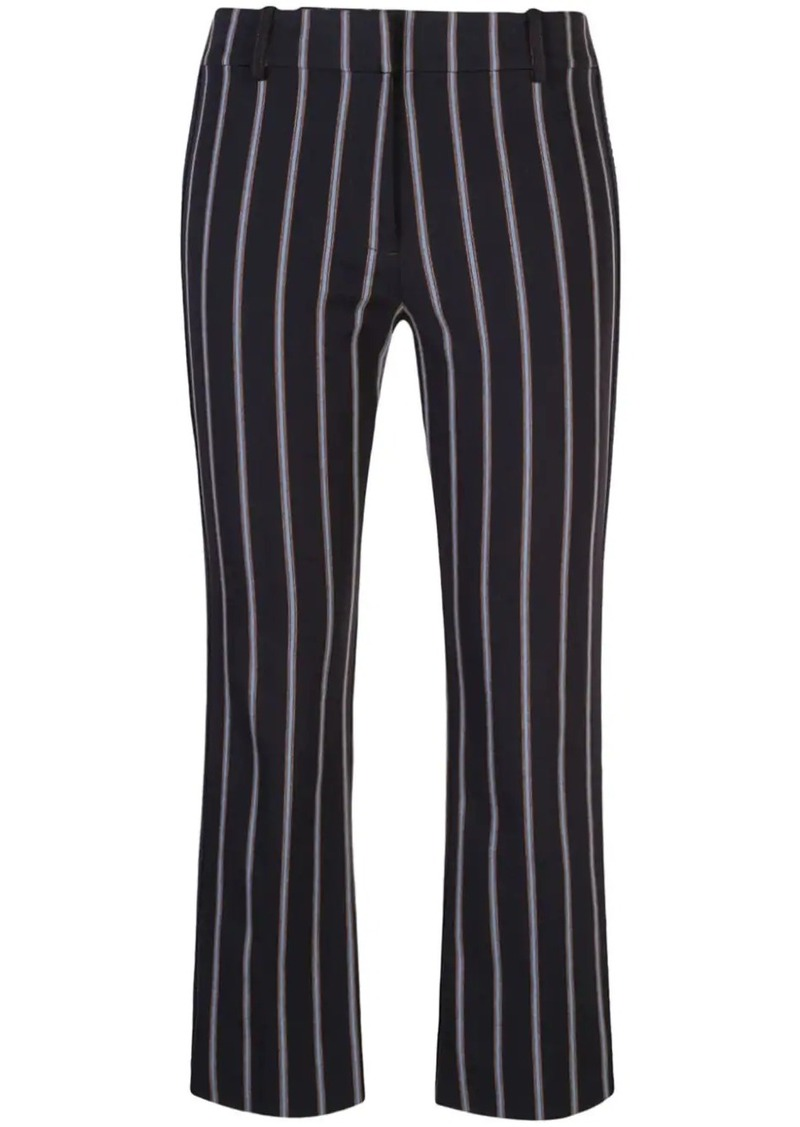 Cropped Flare Pencil Striped Trouser with Braided Trim