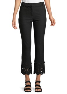 Derek Lam Cropped Flare Stretch-Cotton Trousers with Eyelet Embroidery