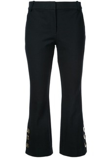 Derek Lam Cropped Flare Trouser with Button Slit Hem Detail