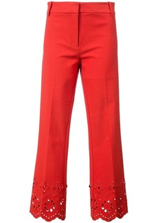 Derek Lam Cropped Flare Trouser With Eyelet Embroidery