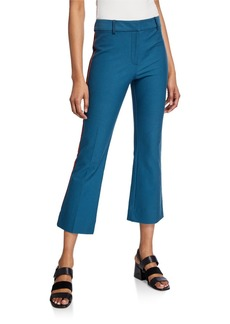 Derek Lam Cropped Flare Trousers with Ribbed Trim