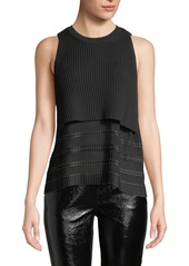 Derek Lam Cropped Knit Top with Pleated Cami