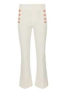 Derek Lam Cropped White Flare Sailor Trousers