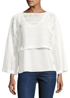 Derek Lam 2-in-1 Crochet Top W/ Poplin Underlay  White