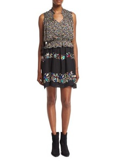 Derek Lam 10 Crosby 2-in-1 Floral Chiffon Mini Dress