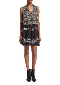 Derek Lam 10 Crosby 2-in-1 Floral Chiffon Mini Dress