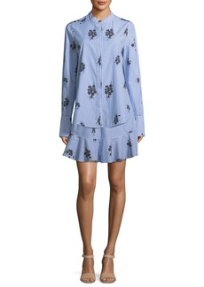 Derek Lam 2-in-1 Striped Floral-Print Shirtdress with Flounce Hem