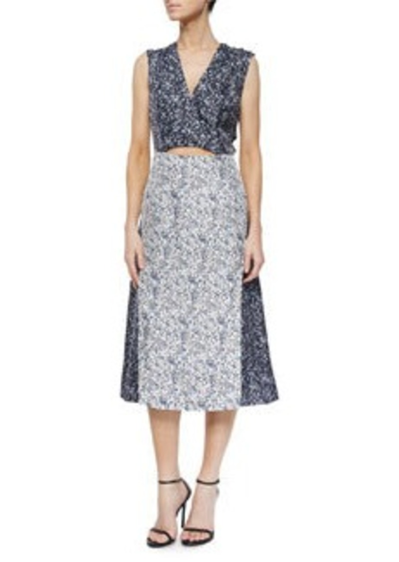 10 Crosby Derek Lam Two-Tone Studded Floral-Print Dress