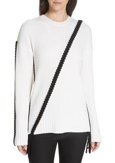 Derek Lam 10 Crosby Assymetrical Braid Trim Sweater