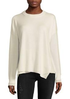 Derek Lam Asymmetric Wool-Blend Crewneck Sweater