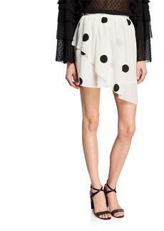 Derek Lam 10 Crosby Asymmetrical Dot-Print Mini Skirt