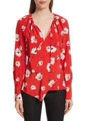 Derek Lam 10 Crosby Asymmetrical Floral Silk Blouse