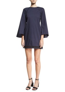 Derek Lam 10 Crosby Bell-Sleeve A-Line Dress w/ Lacing