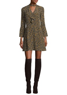 Derek Lam 10 Crosby Bell-Sleeve Cascade-Ruffle Printed Silk A-line Dress
