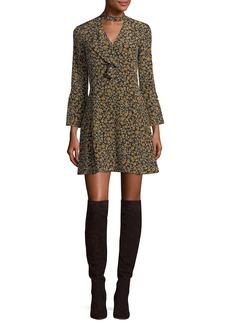 Derek Lam Bell-Sleeve Cascade-Ruffle Printed Silk A-line Dress