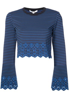 Derek Lam 10 Crosby Bell Sleeve Cropped Top With Eyelet Embroidery -