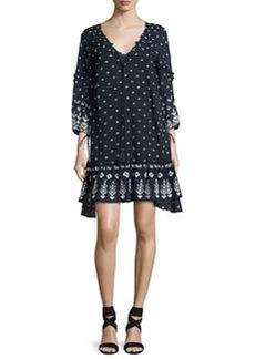 Derek Lam 10 Crosby Bell-Sleeve Embroidered Ruffle Dress