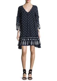 Derek Lam 10 Crosby Bell-Sleeve Embroidered Ruffle Dress