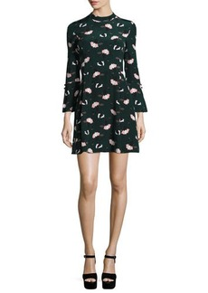 Derek Lam 10 Crosby Bell-Sleeve Floral A-Line Dress