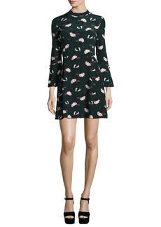 Derek Lam 10 Crosby Bell-Sleeve Floral A-Line Dress
