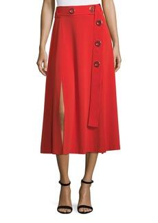 Derek Lam 10 Crosby Belted Crepe Midi Dress with Slits