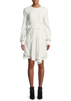 Derek Lam 10 Crosby Belted Long-Sleeve Asymmetrical Short Dress