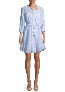 Derek Lam 10 Crosby Belted Stripe Asymmetric-Placket Dress