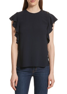 Derek Lam 10 Crosby Button Detail Ruffled Top