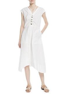 Derek Lam 10 Crosby Cap-Sleeve V-Neck Cotton Poplin Midi Dress with Lacing