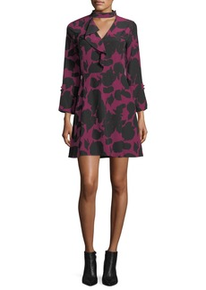 Derek Lam 10 Crosby Choker A-Line Printed Silk Dress w/ Bell Sleeves