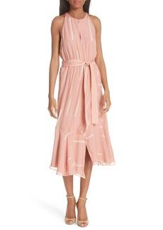 Derek Lam 10 Crosby Clipped Stripe Jacquard Silk Blend Dress