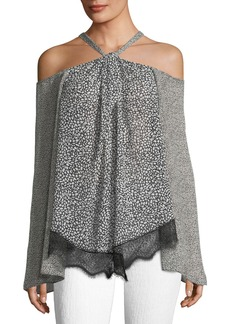 Derek Lam 10 Crosby Cold-Shoulder Halter Blouse W/Lace