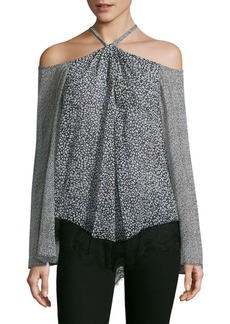 Derek Lam 10 Crosby Cold-Shoulder Halter Laced Silk Blouse