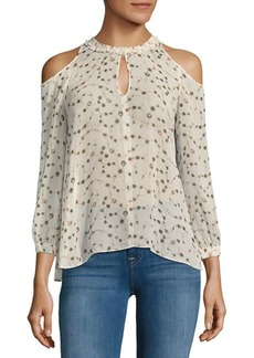 Derek Lam Cold-Shoulder Silk Blouse