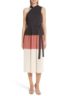 Derek Lam 10 Crosby Colorblock Pleated Dress