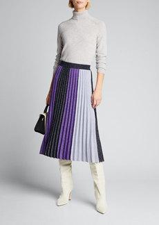 Derek Lam 10 Crosby Colorblock Pleated Metallic Midi Skirt