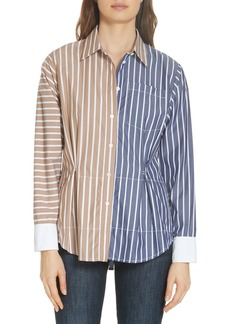 Derek Lam 10 Crosby Colorblock Stripe Shirt