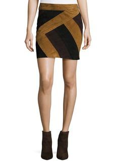 Derek Lam 10 Crosby Colorblock Suede Mini Skirt