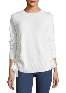 Derek Lam 10 Crosby Crewneck Cashmere Sweater with Ruched Sides