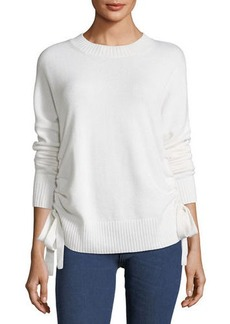 Derek Lam Crewneck Cashmere Sweater with Ruched Sides