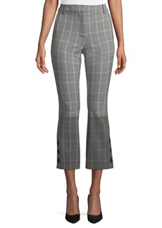 Derek Lam 10 Crosby Cropped Check Flare Trousers with Button Hem