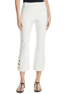Derek Lam 10 Crosby Cropped Flare-Leg Trousers with Golden Buttons