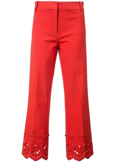 Derek Lam 10 Crosby Cropped Flare Trouser With Eyelet Embroidery - Red