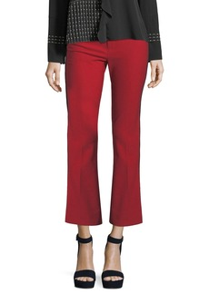 Derek Lam 10 Crosby Cropped Flare Trousers w/ Tuxedo Piping