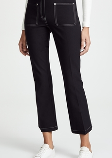 Derek Lam 10 Crosby Cropped Flare Trousers with Patch Pockets