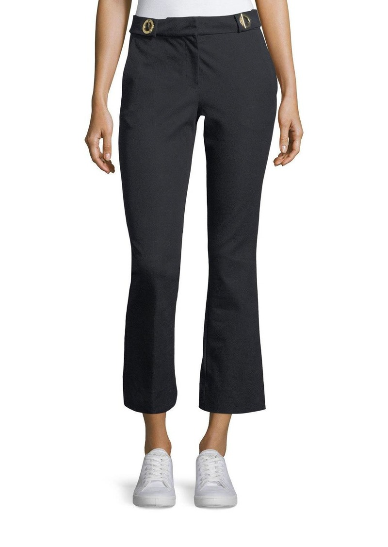 Derek Lam 10 Crosby Cropped Flared-Leg Trousers with Grommet Details